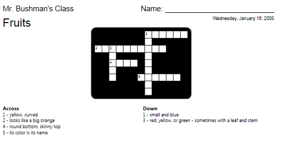 Professional Crossword Sample
